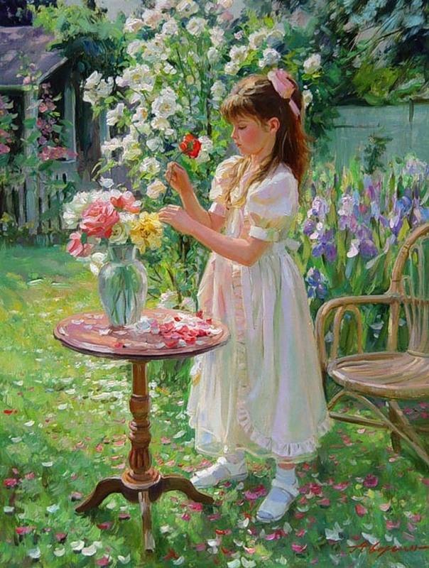 Девочка в саду картинки для детей